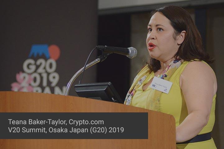 Teana Baker-Taylor presenting at V20 Summit in Osaka, Japan